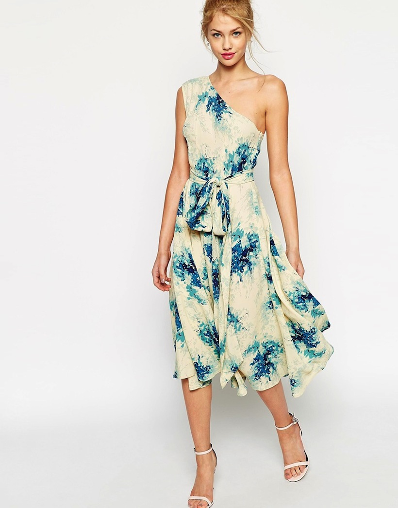 ASOS Premium One Shoulder Midi Dress In Porcelain Flower Print
