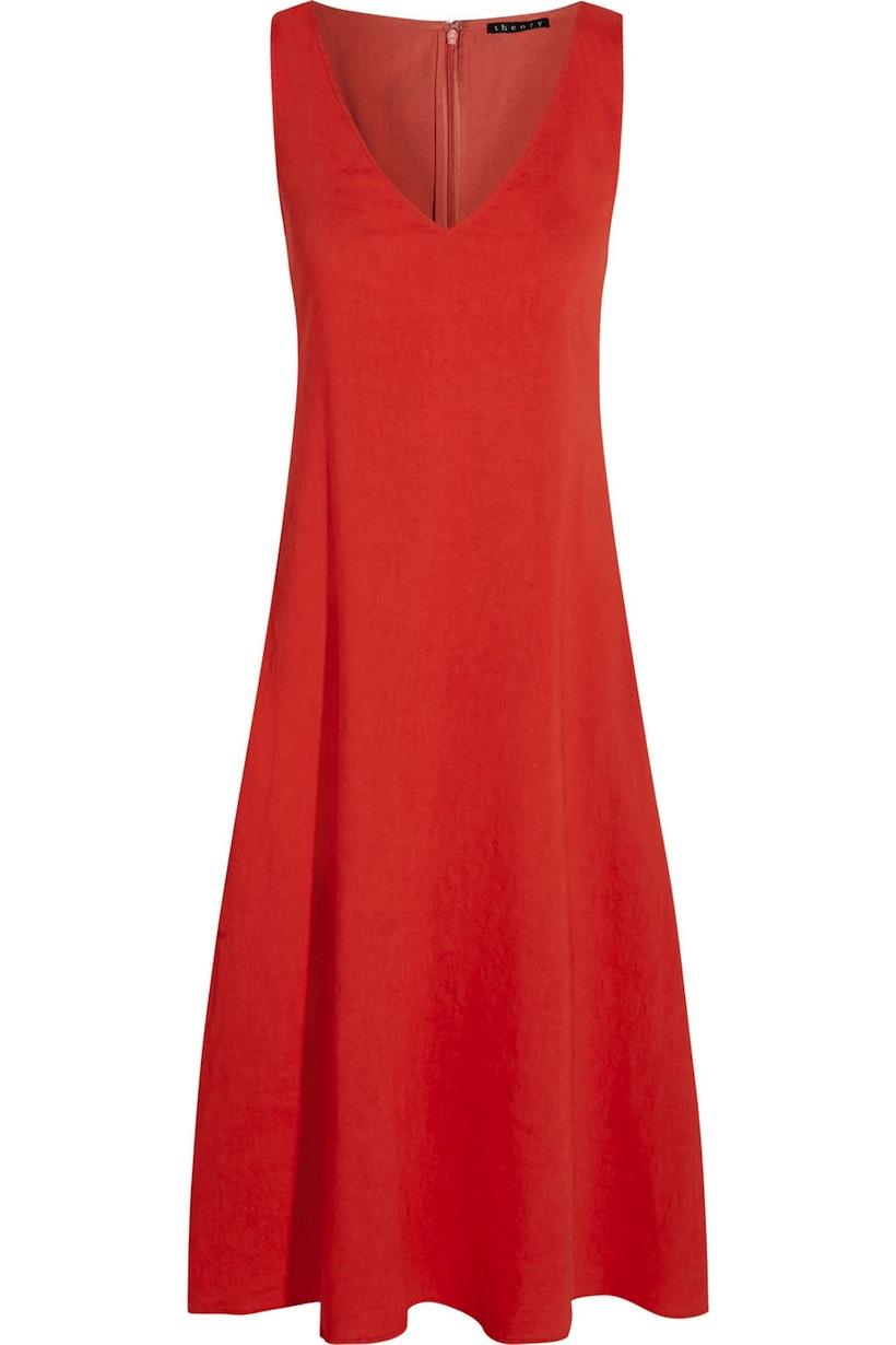 theory_madrea stretch linen-blend midi dress