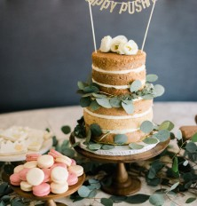 """naked"" cake with eucalyptus"