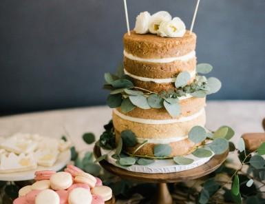 """""""naked"""" cake with eucalyptus"""