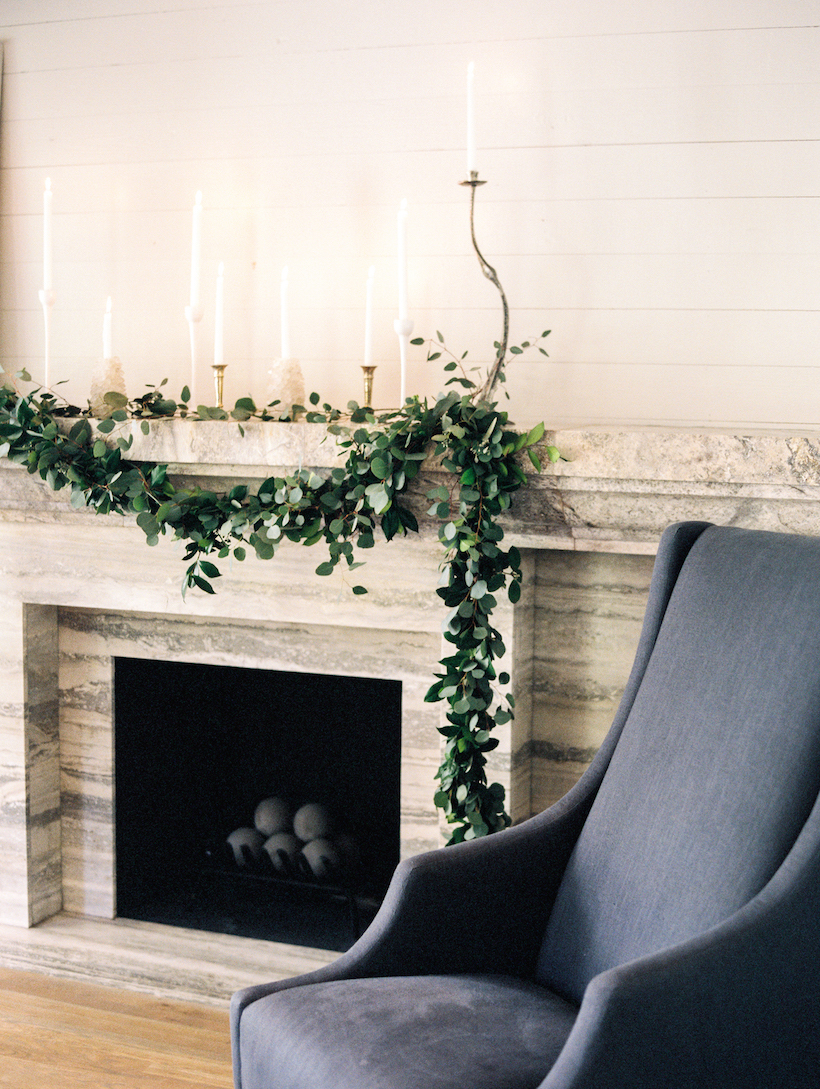 fireplace with marble mantle