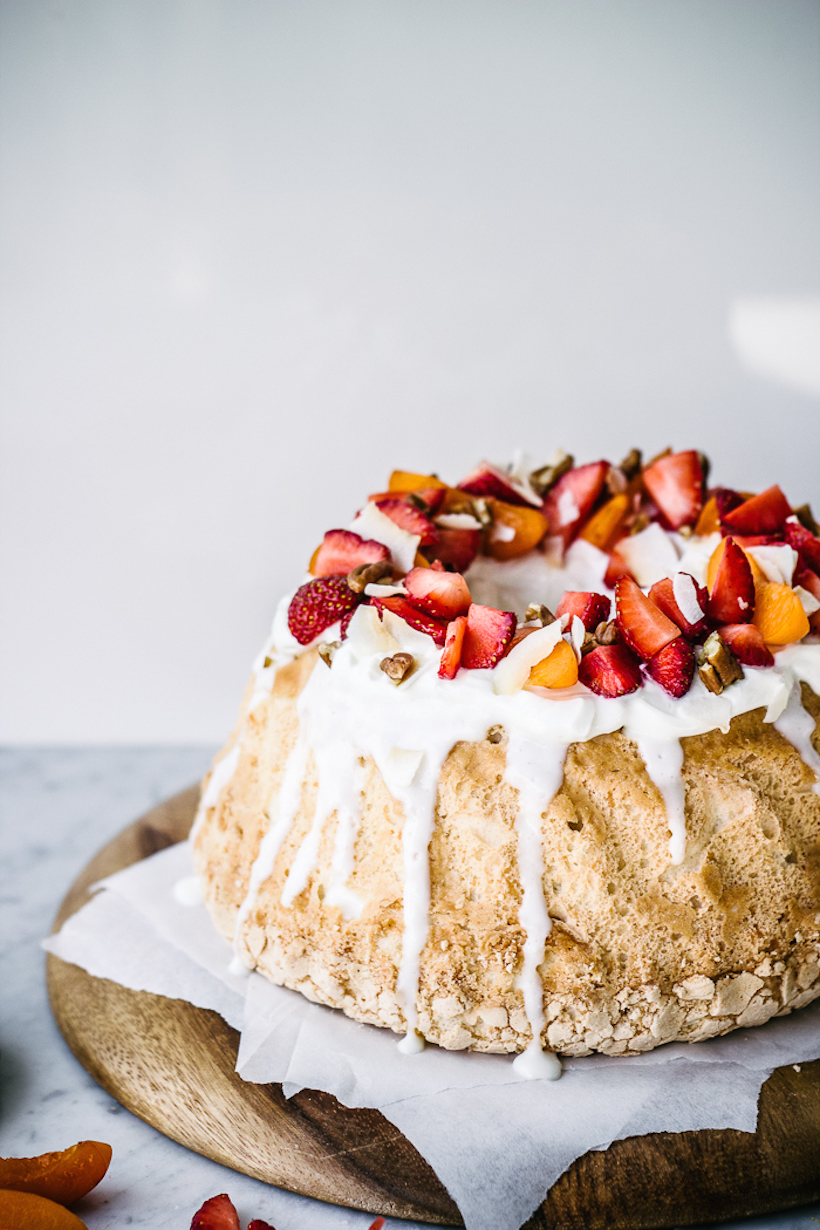 Coconut Angel Food Cake with Fresh Strawberries from Top With Cinnamon