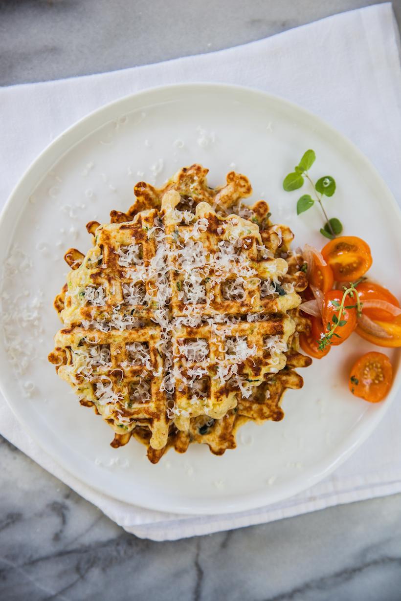 Prepared Zucchini Parmesan Waffles