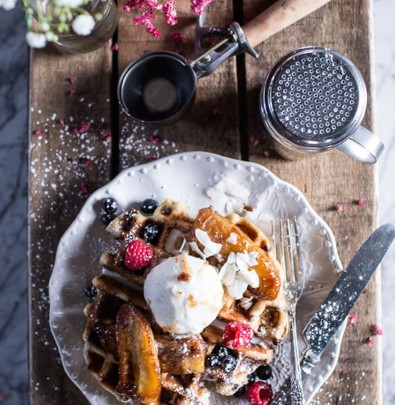 Whole Wheat Belgium Chocolate Chip Waffles with Coconut Caramelized Bananas