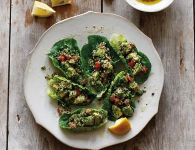 Recipe for Avocado Tabbouleh in Little Gems