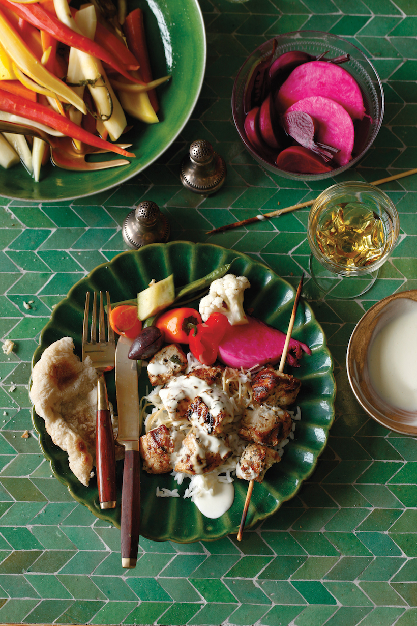 Recipes for a middle eastern dinner party camille styles recipe for yogurt marinated chicken skewers forumfinder Choice Image