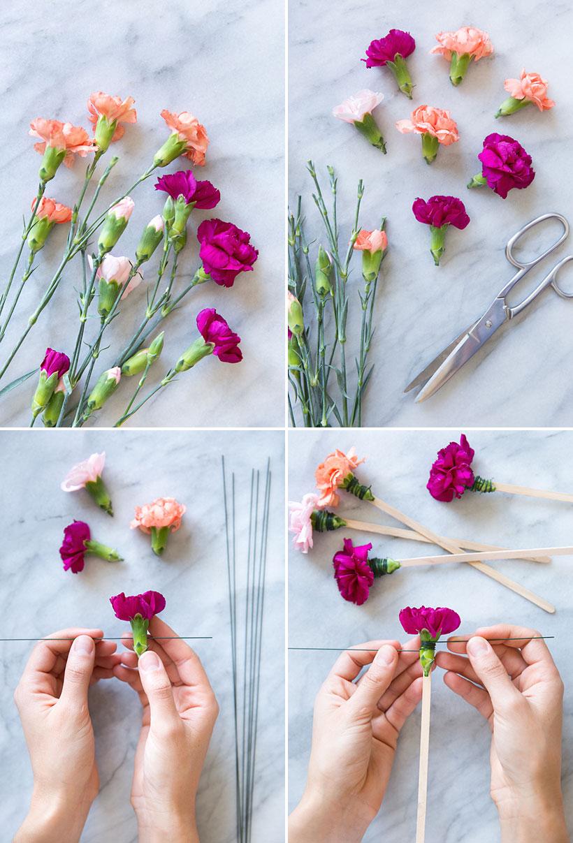 DIY Carnation Stir Sticks