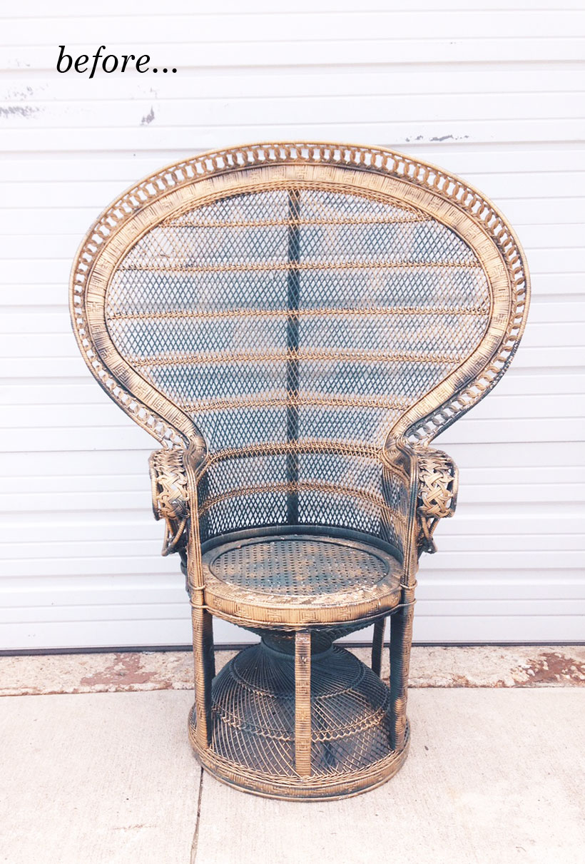 How to repaint a rattan peacock chair. Peacock Chair Makeover   Camille Styles