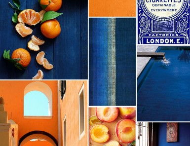 Indigo & Tangerine Inspiration Board | Camille Styles
