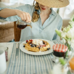 how to host a build-your-own waffle party with fresh fruit, jams, coconut & almonds