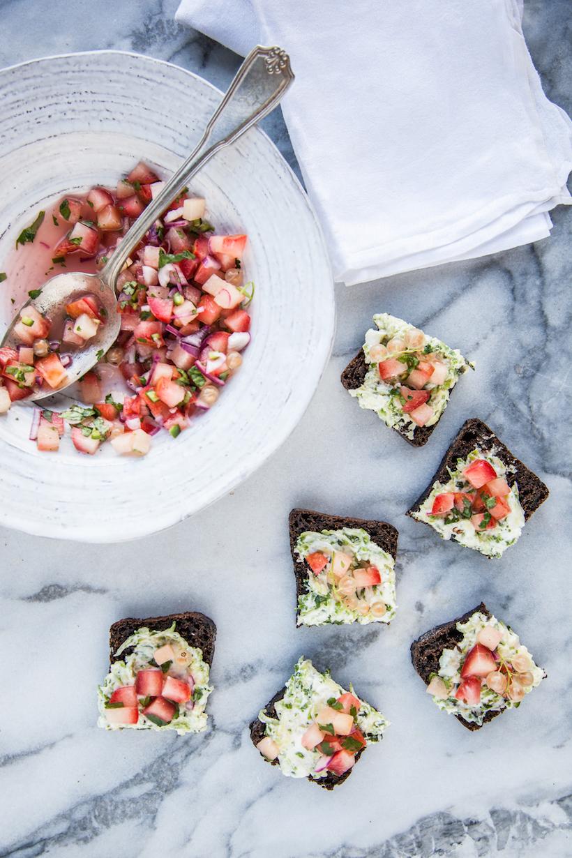 Zucchini Chevre Tartines with Fruit Salsa