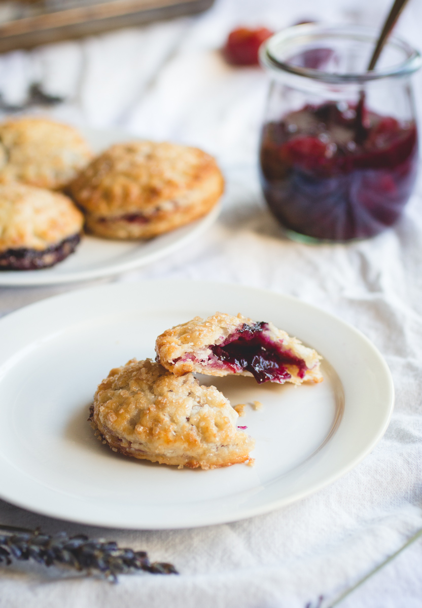 Plum & Blueberry Hand Pies with Lavender Crust