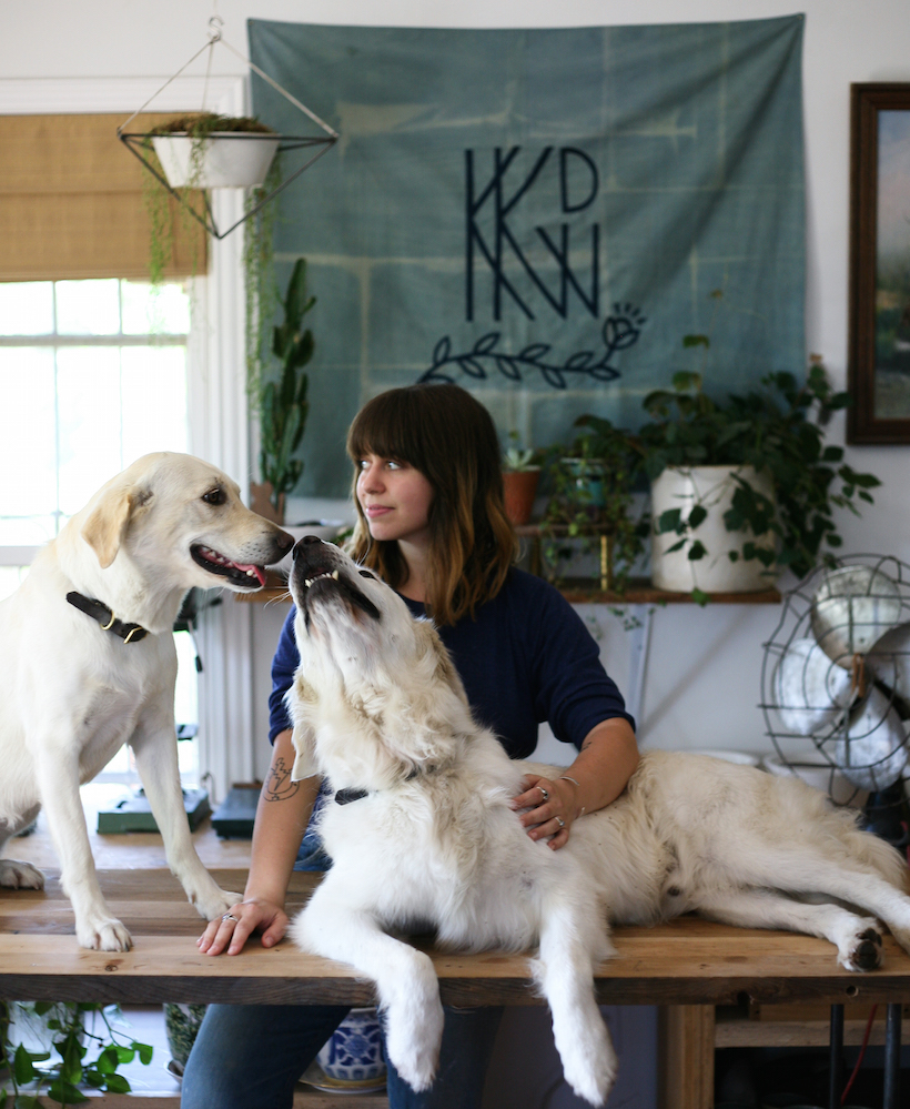 Kelly DeWitt and her dogs