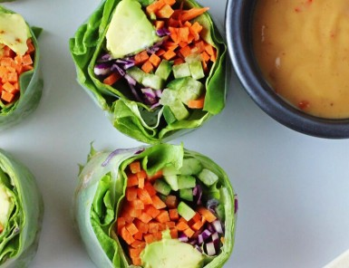 Vegetable Rolls with Spicy Nut Sauce