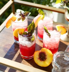 Blueberry-Peach Mojito with Purple Basil