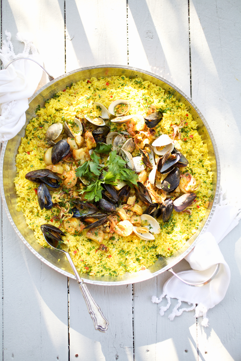 Seafood Paella with Shrimp, Scallops, Calamari and Mussels - Camille ...