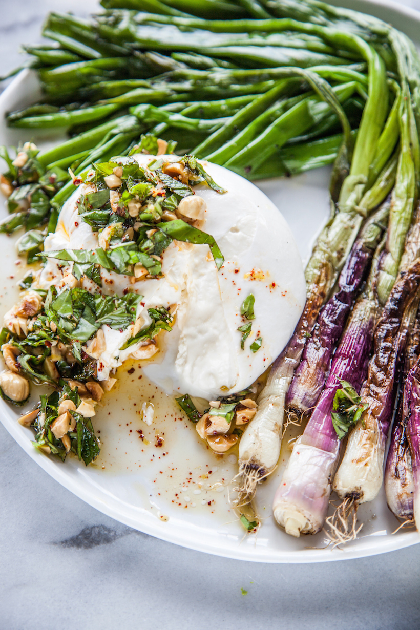 Charred Scallions with Burrata and Picada