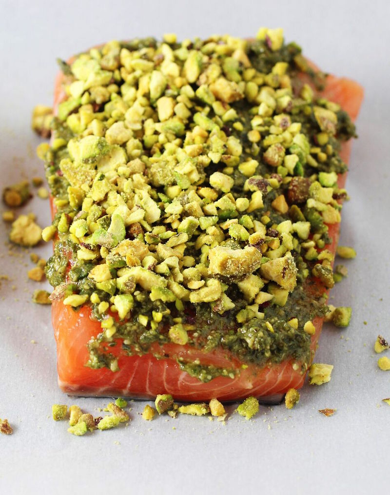 Pistachio crusted salmon with garlicky smashed potatoes for Pistachio crusted fish