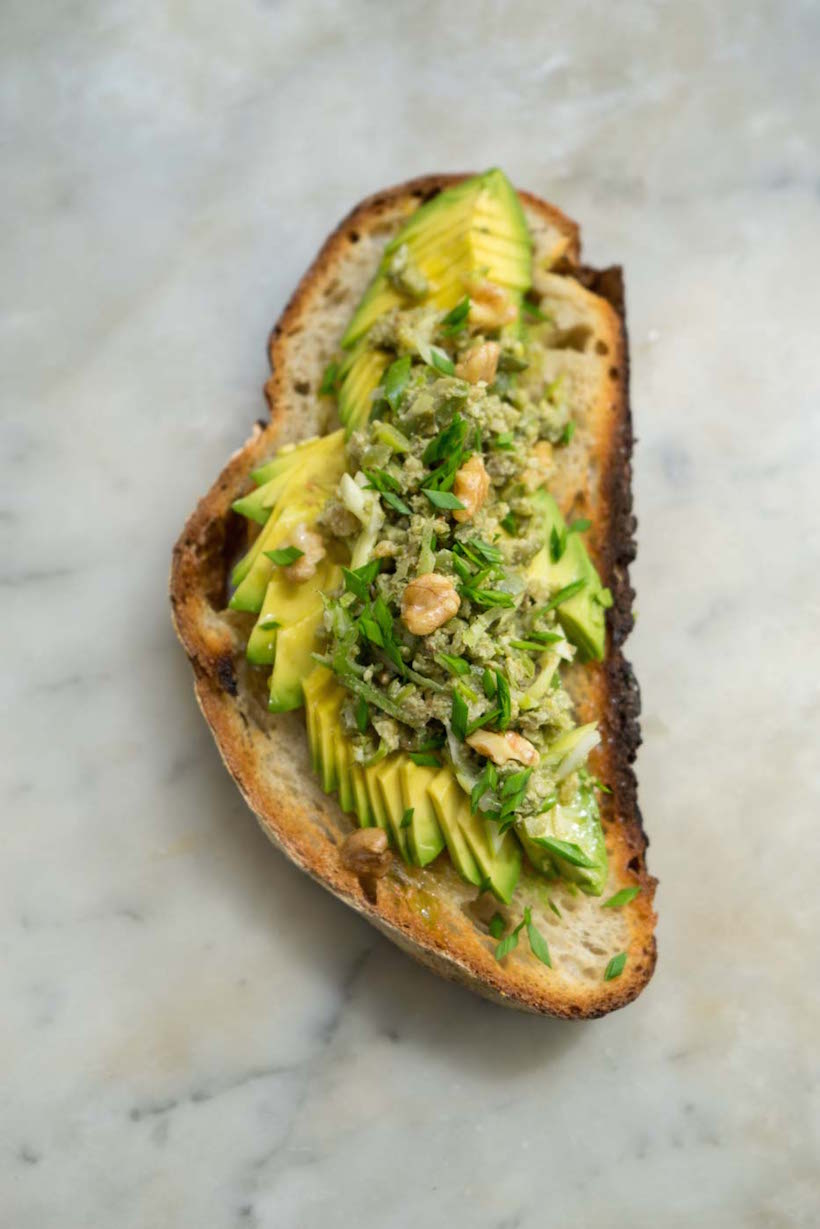 avocado toast with superfood tapenade