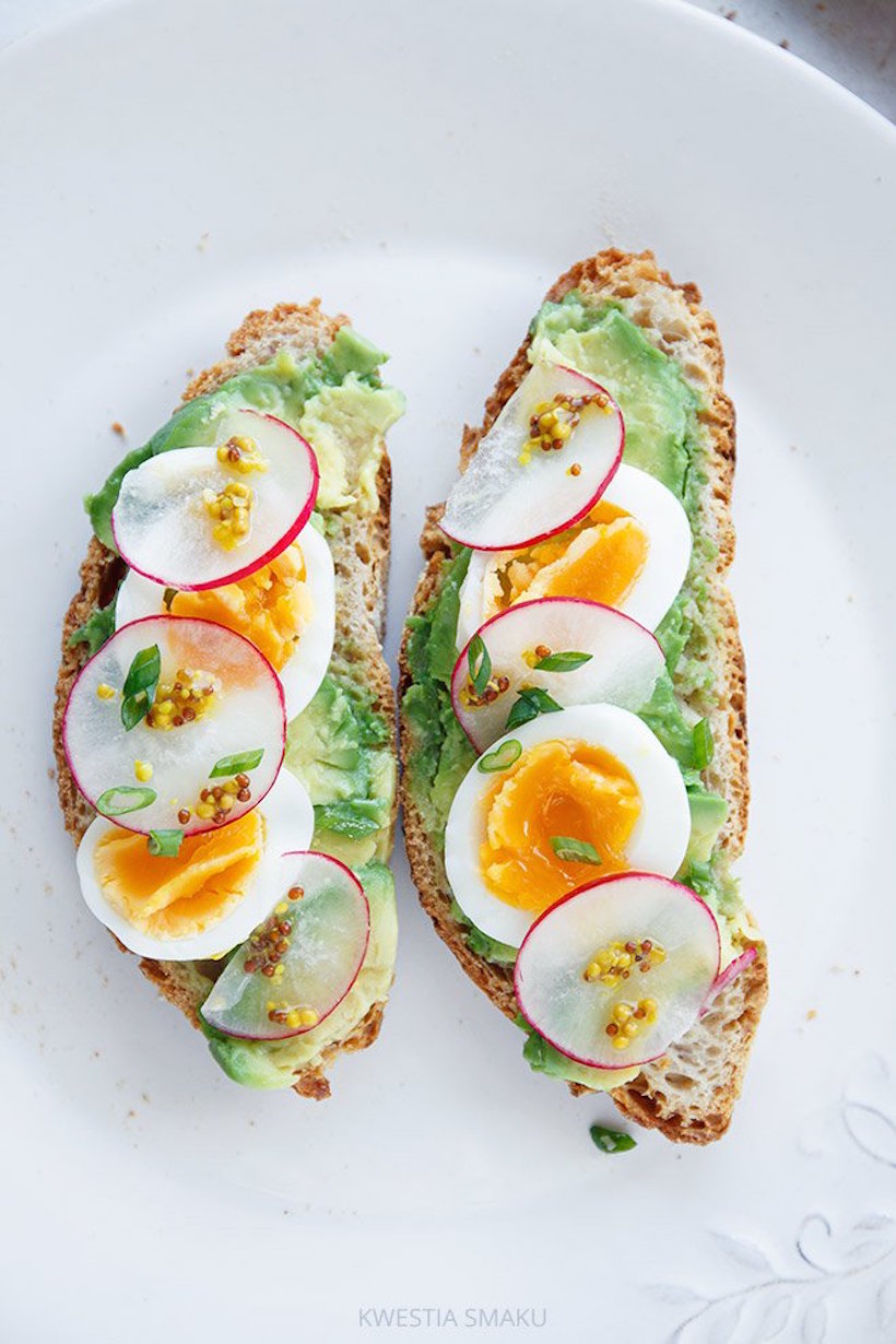 boiled egg with radish & mustard