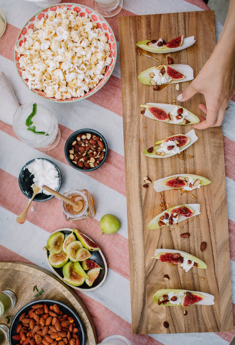 endive leaves with figs, goat cheese, & almonds