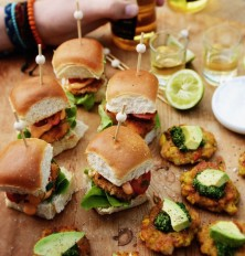 MEXICAN FISH SLIDERS WITH SMOKED PAPRIKA MAYO, CORN & PRAWN FRITTERS WITH CORIANDER LIME PESTO
