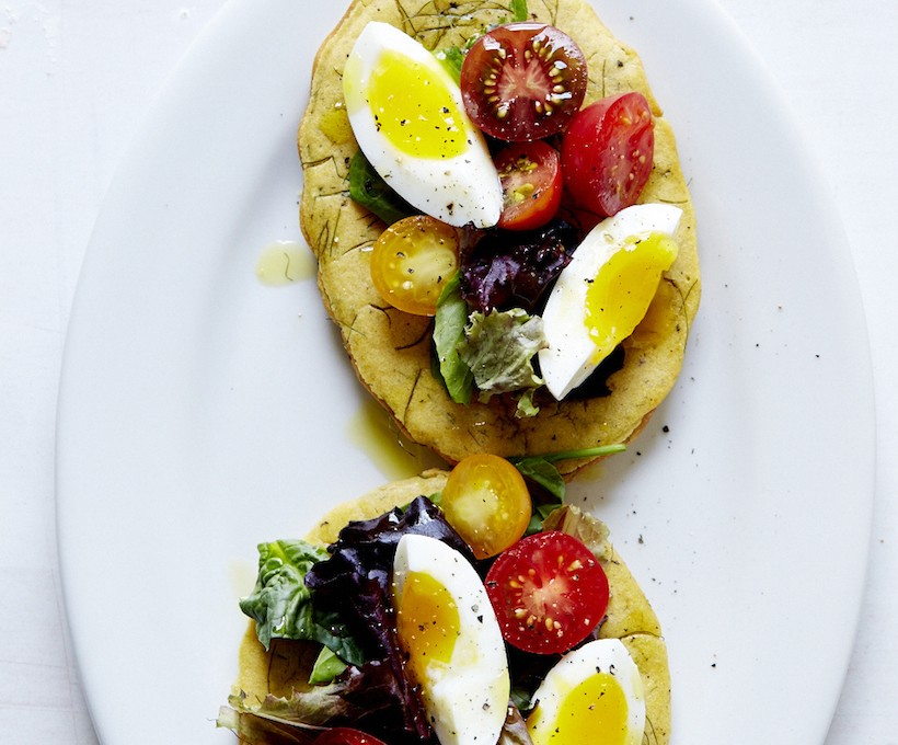 Chickpea Socca with Cherry Tomato, Soft-Boiled Egg, & Mesculin Greens