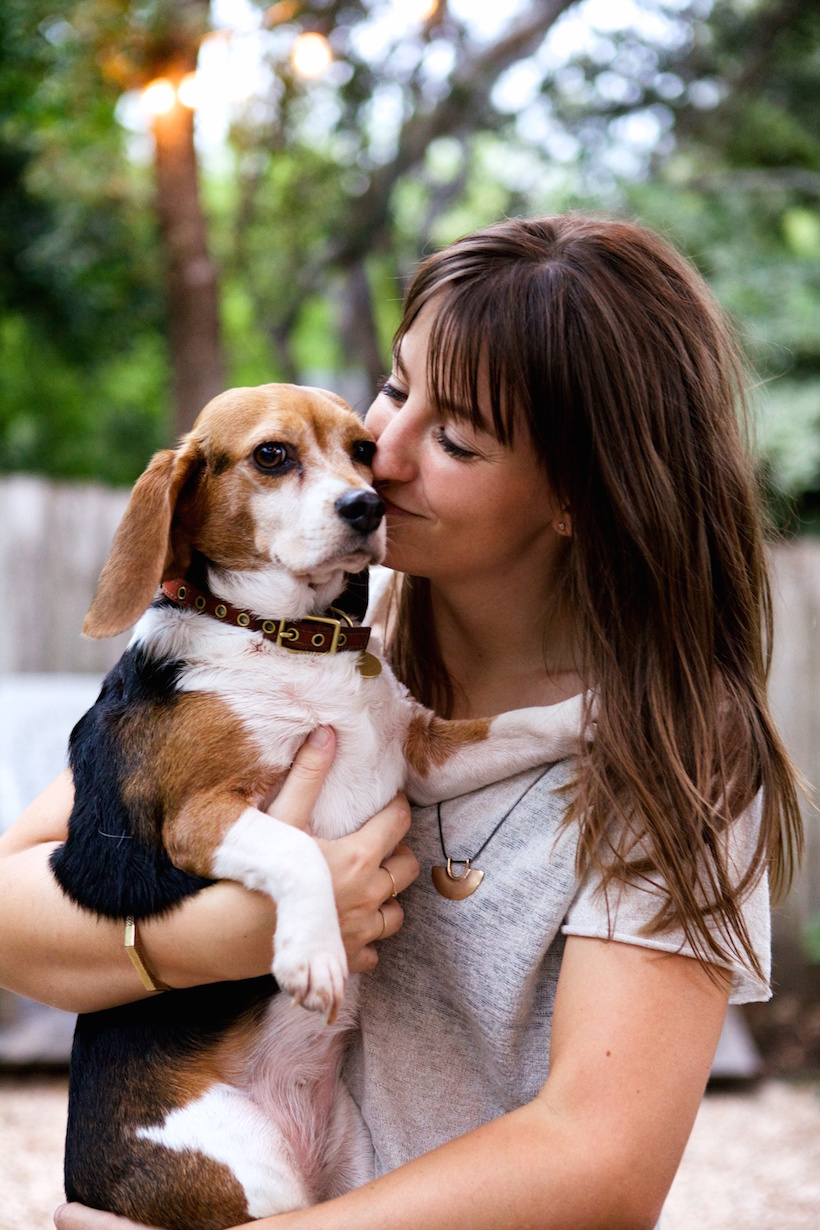 Chelsea Fullerton Jones and her beagle, Alice