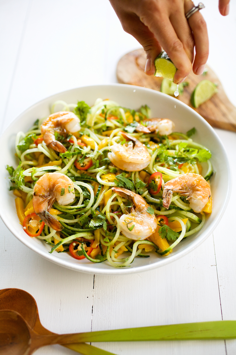mango & cucumber spiralized noodle salad