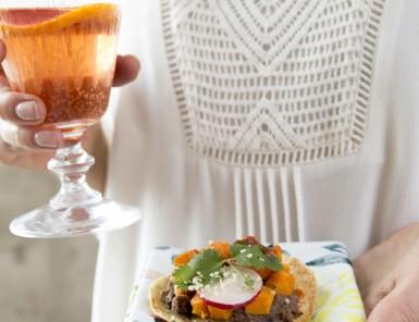 Chile-Roasted Pumpkin & Black Bean Tostadas