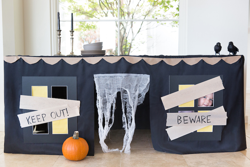DIY Tablecloth Haunted Playhouse For Halloween