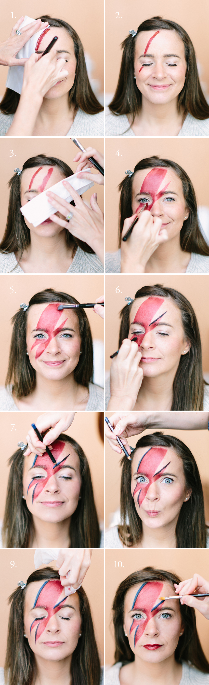 Diy david bowie face paint camille styles david bowie makeup tutorial camille styles solutioingenieria Gallery