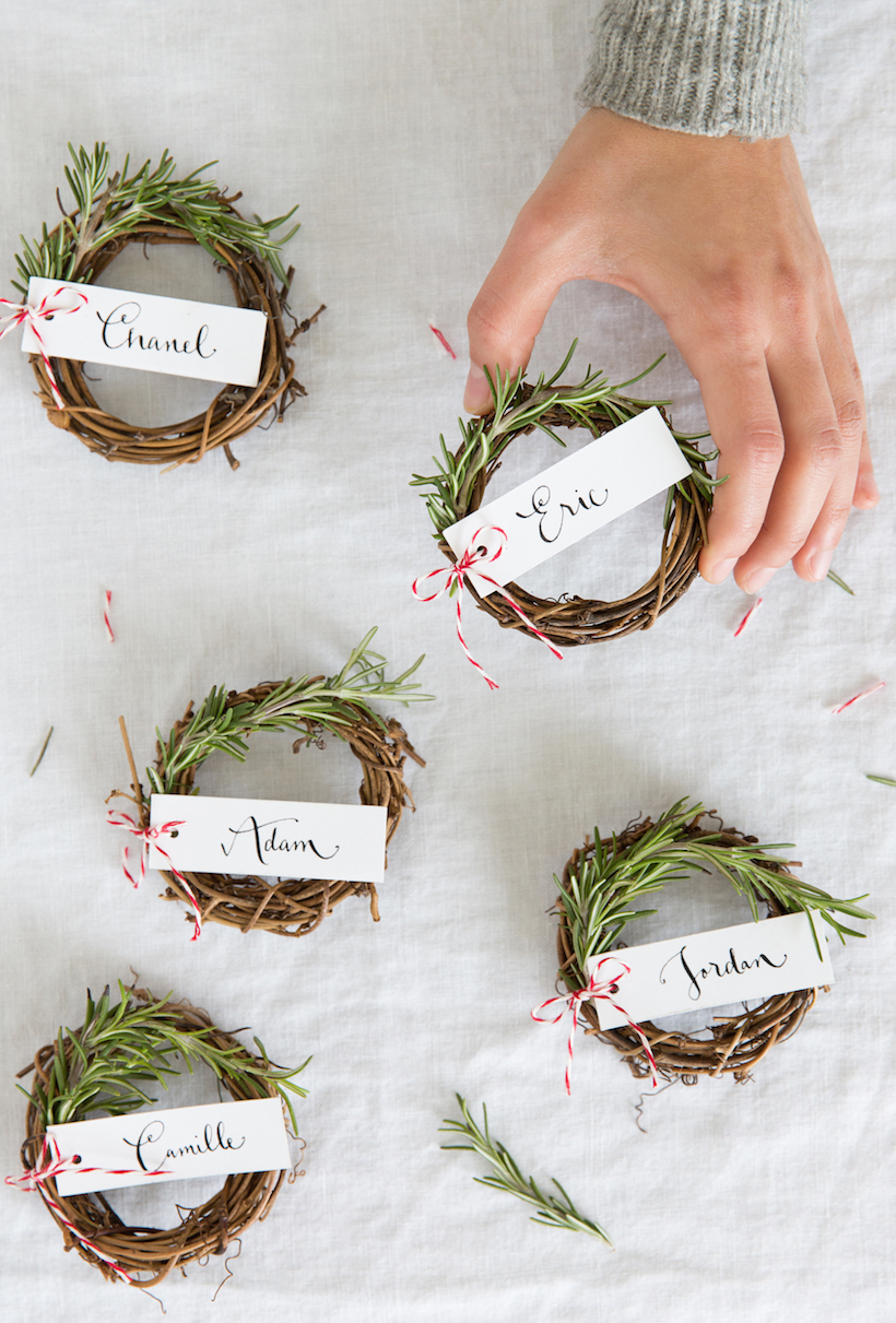 rosemary wreath place cards camille styles