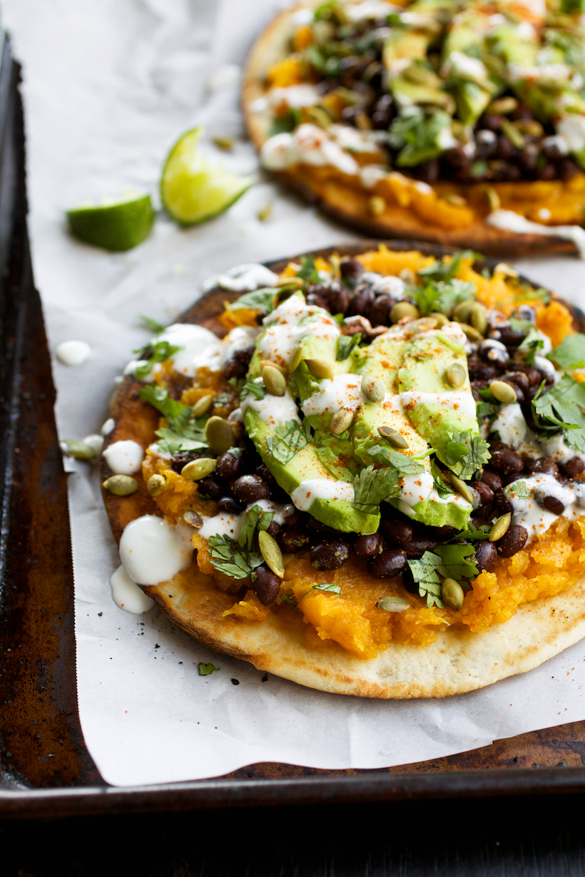 Pita Tostadas with Butternut Squash, Black Beans, & Avocado - Camille ...
