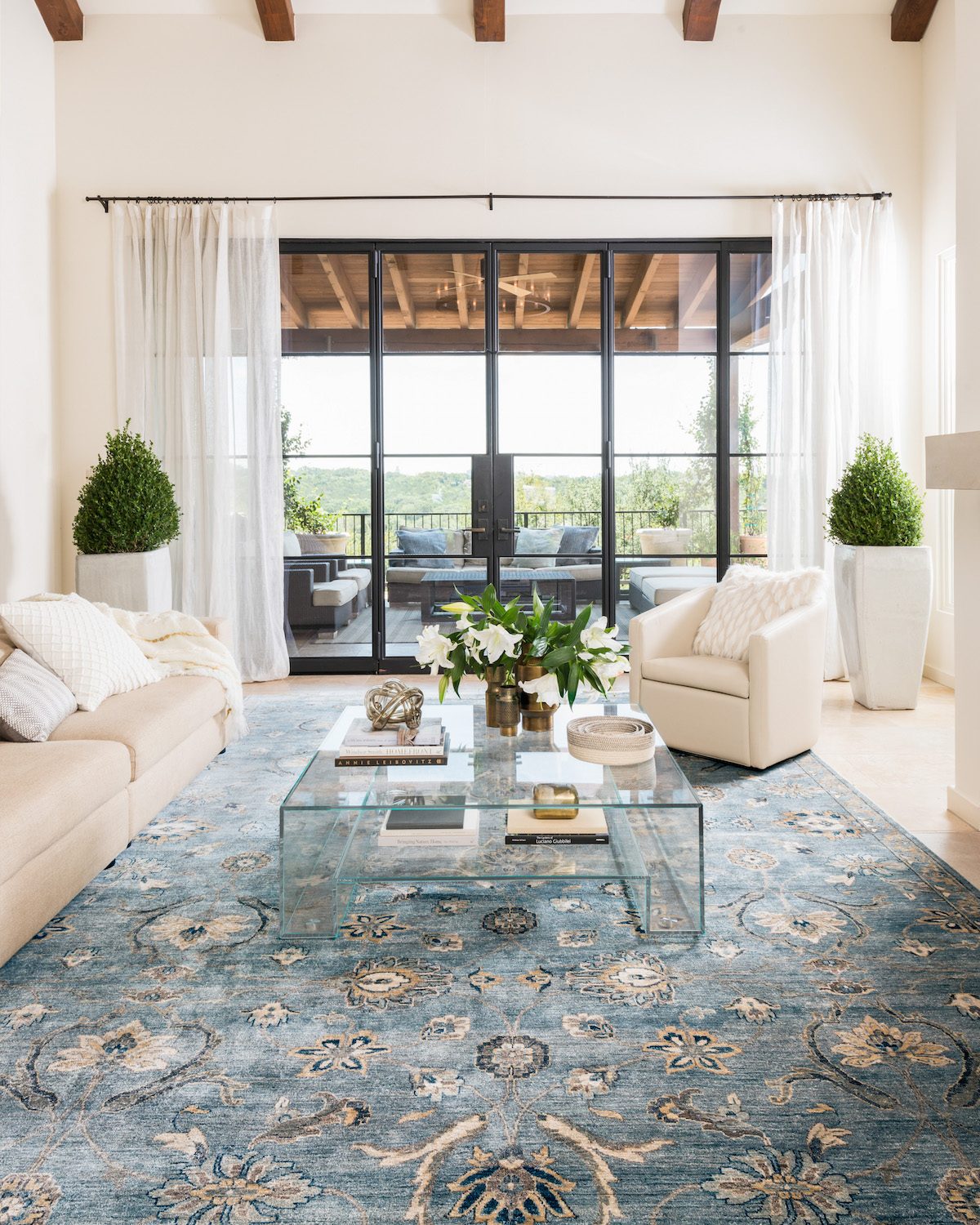 Blue Exotic Rug in living room of Camille Styles