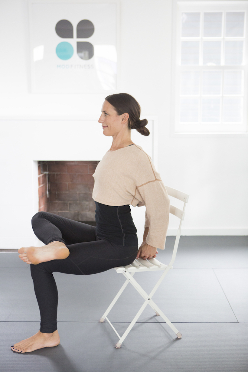Seated Figure 4 with Shoulder Stretch