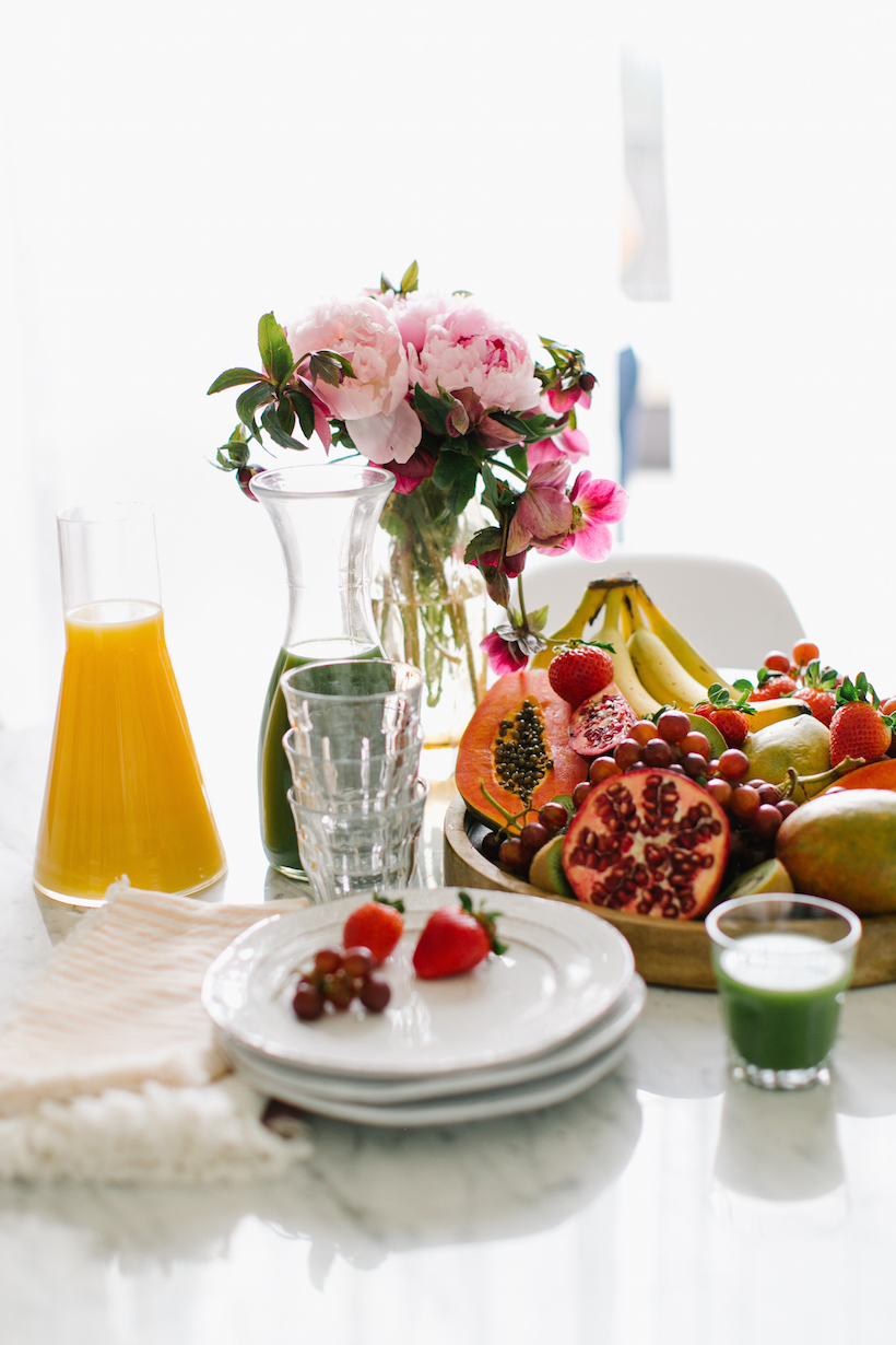 Brunch necessities – bananas, strawberries, pomegranates and mimosas, of course!