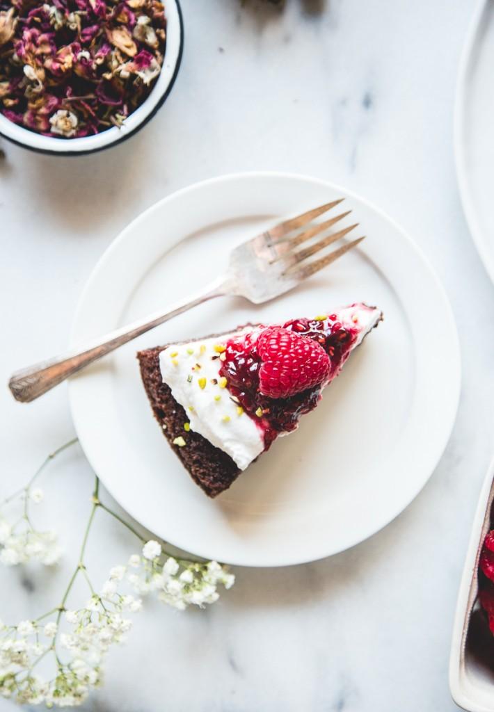 Gluten-Free Olive Oil Chocolate Cake + Raspberry-Rose Preserves