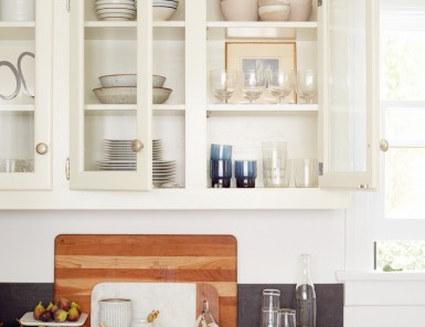 beautifully organized kitchen counter and cabinets