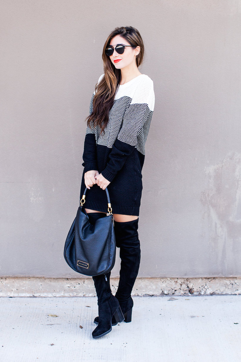 Knee high boots and monochromatic vibes