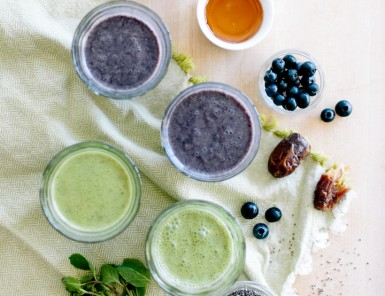 Ingredients for the most Delicious Smoothie with Blueberry, Chia & Mint (my go-to healthy breakfast lately!)