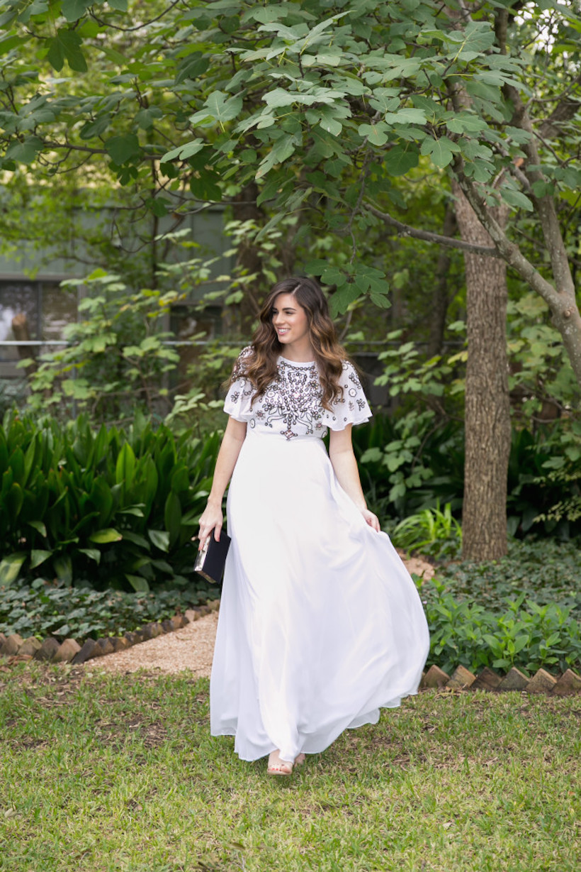White embellished maxis make for the perfect spring evening outfit.