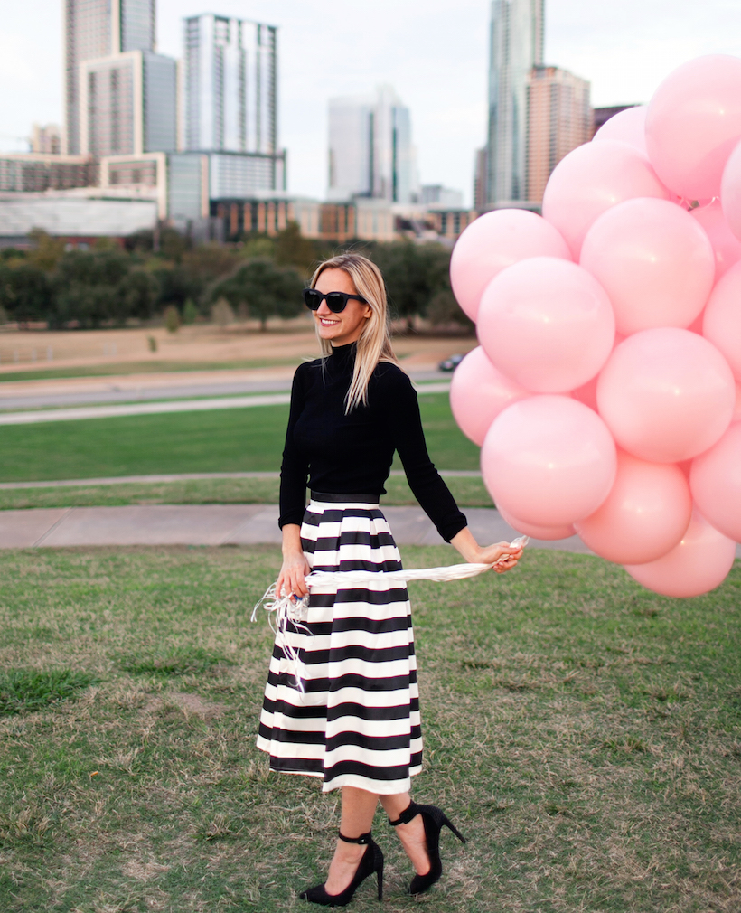 Pink balloons as an accessory, no brainer!