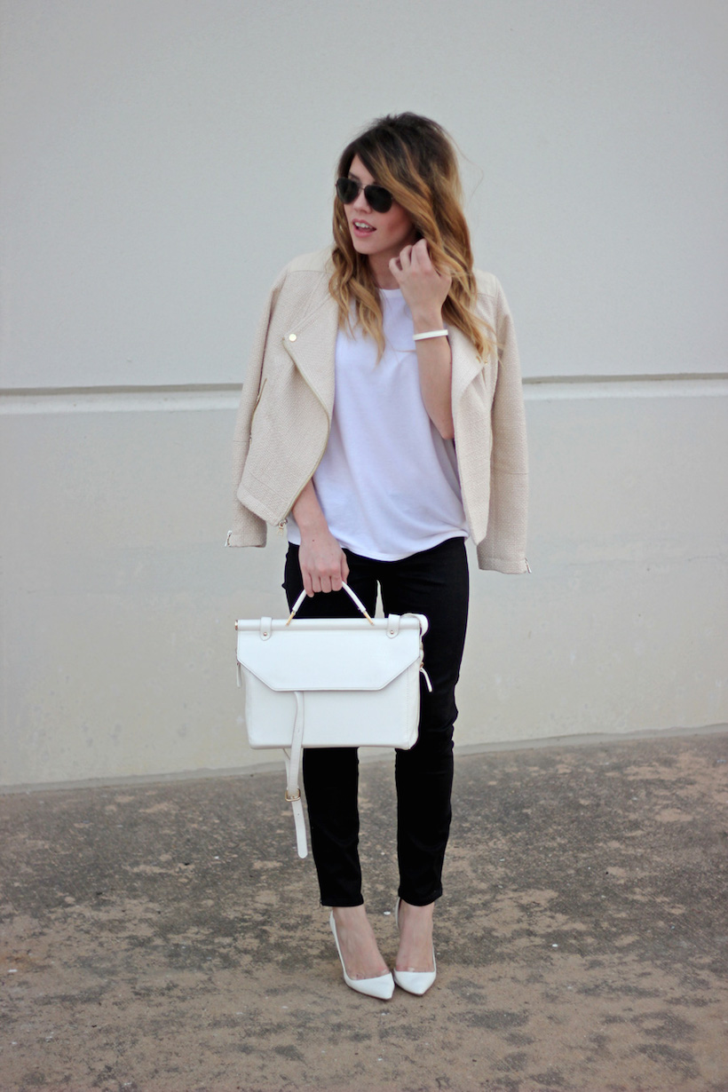 Loving this moto tweed jacket with a simple white tee!