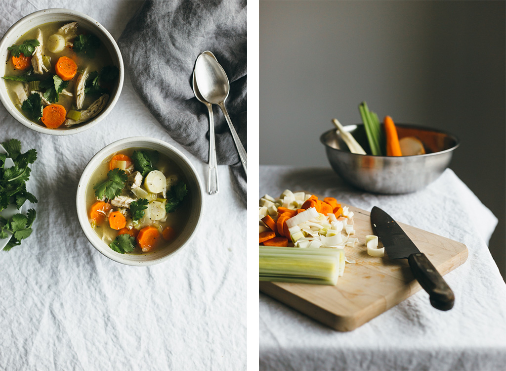 poached chicken and winter vegetable soup
