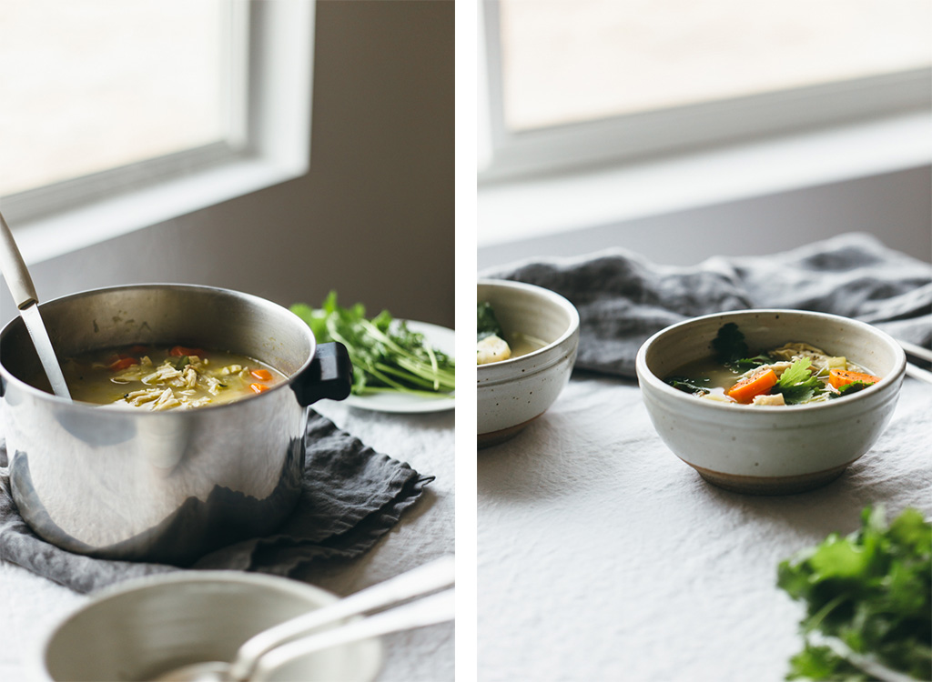 poached chicken and winter vegetable soup recipe