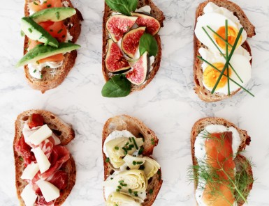 love this party idea - let guests build their own gourmet toasts!
