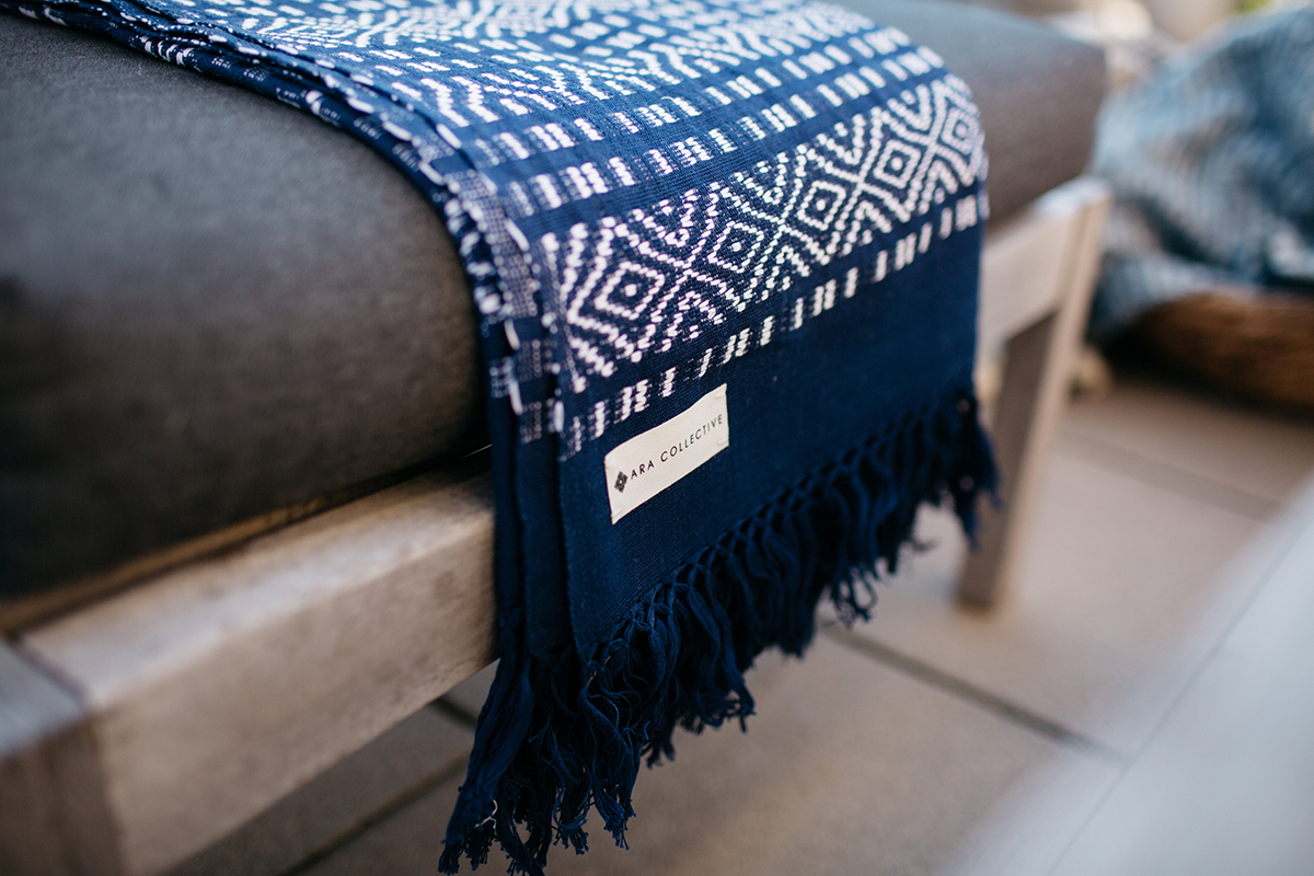 blue and white textiles from Ara Collective