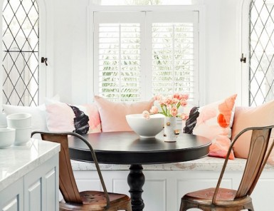Nina Dobrev's bright airy breakfast nook