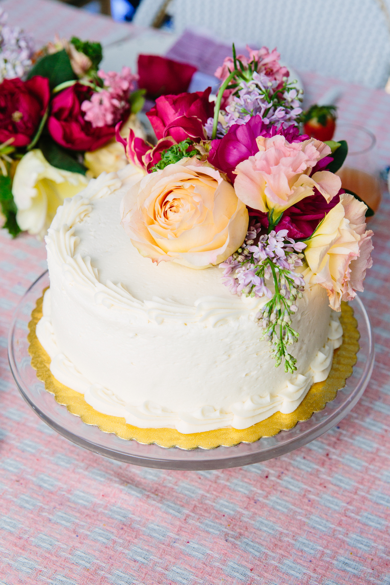 garden party cake topped with roses